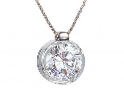 Stříbrný přívěsek Brilliant Star s českým křišťálem a kubickou zirkonií Preciosa - bílý