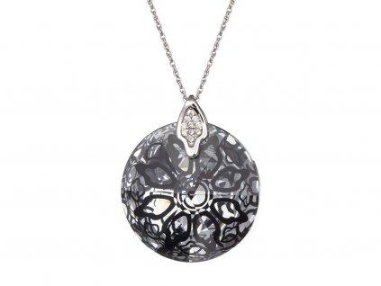 Stříbrný přívěsek Crystal Rose II - černý
