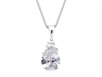 Stříbrný přívěsek Elegant s kubickou zirkonií a s českým křišťálem Preciosa - krystal