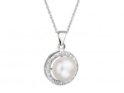 Stříbrný přívěsek Fascinating s pravou říční perlou Preciosa