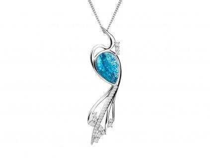 Stříbrný přívěsek Ines s českým křišťálem a kubickou zirkonií Preciosa - modrý 6109 29