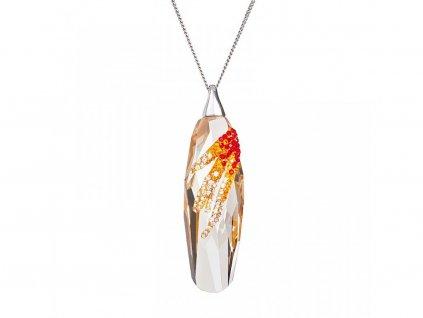 Stříbrný přívěsek Perfectionné s českým křišťálem Preciosa - oranžový