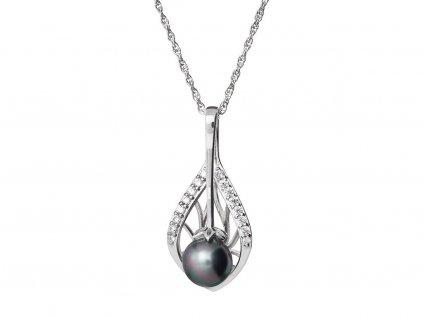 Stříbrný přívěsek Touch of Luxury s černou říční perlou Preciosa 5209 20