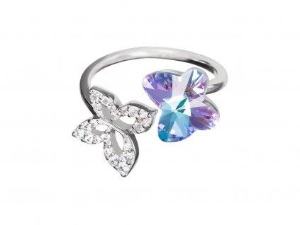 Stříbrný prsten Butterfly Harmony s motýlem z českého křišťálu Preciosa