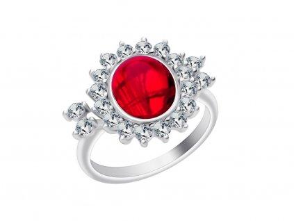 Stříbrný prsten Camellia s českým křišťálem a kubickou zirkonií Preciosa - červený