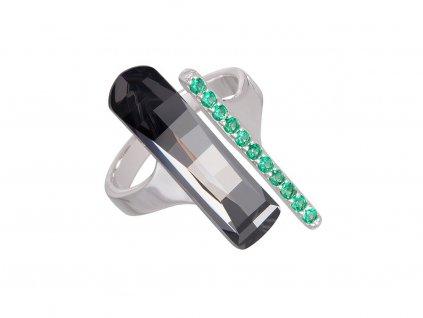 Stříbrný prsten Crystal Path s českým křišťálem a kubickou zirkonií Preciosa