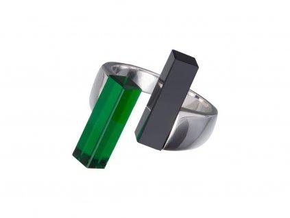Stříbrný prsten Fresh Style s českým křišťálem - zelený