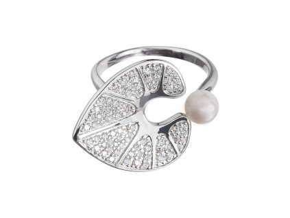 Stříbrný prsten White Water Lily s pravou říční perlou Preciosa