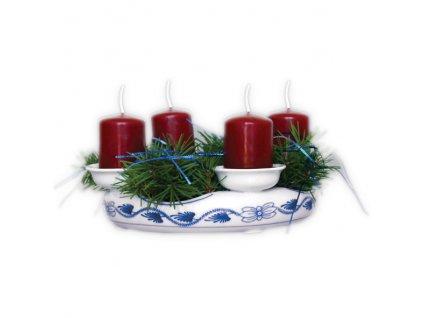 Svícen adventní (4 svíčky) - bez svíček a dekorace, cibulový porcelán 10600