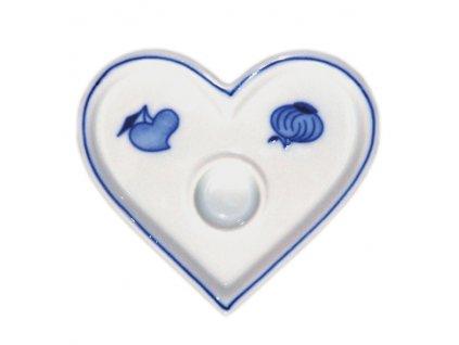 Svícen plochý - srdíčko - cibulový porcelán 10618