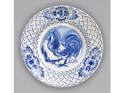 Talíř závesný reliéfní / výroční 2011 - cibulový porcelán 10432