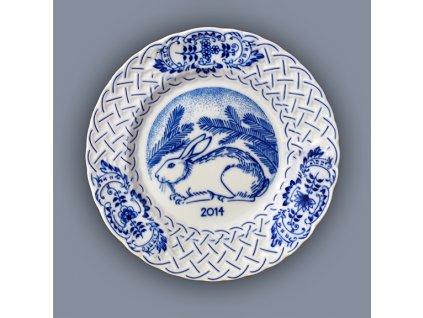 Talíř závěsný reliéfní / výroční 2014 - cibulový porcelán 10432