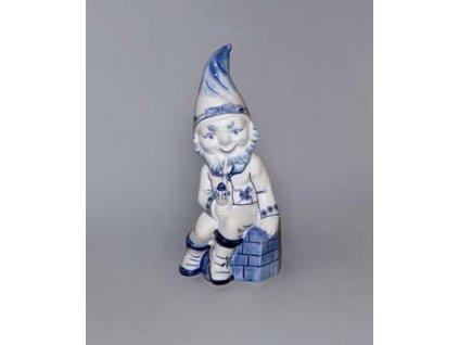 Trpaslík sedící s fajfkou Petrus - cibulový porcelán 10695