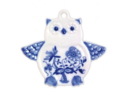Vánoční ozdoba - sova - cibulový porcelán 10163