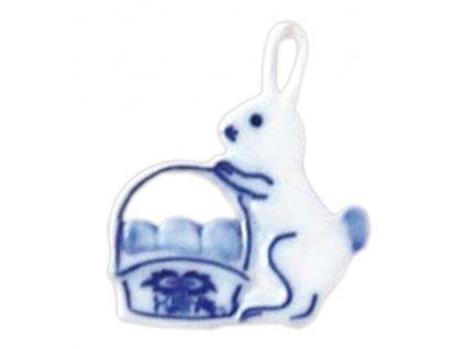 Velikonoční ozdoba - zajíček s košíkem - závěs - cibulový porcelán 10666 /