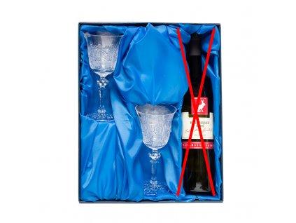 Víno set, 2ks. broušených skleniček