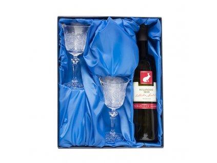 Víno set, lahev značkového vína a 2ks. broušených skleniček