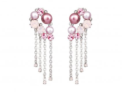 Náušnice Antoinette s českým křišťálem a voskovými perlemi Preciosa - růžové