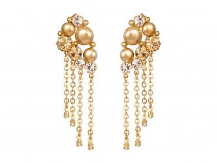 Náušnice Antoinette s českým křišťálem a voskovými perlemi Preciosa - zlaté