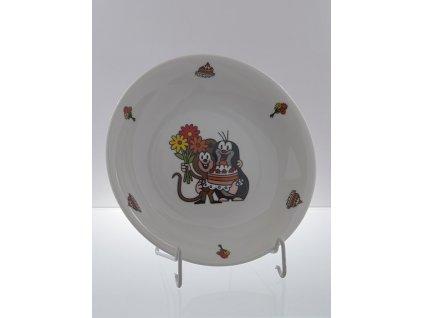 Porcelánový talíř hluboký krteček s dortem