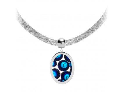 4644 2 nahrdelnik z chirurgicke oceli idared s rucne mackanym kamenem preciosa bermuda blue