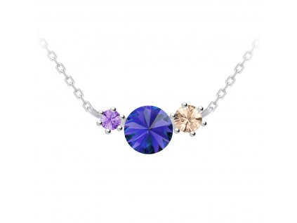 4716 2 stribrny nahrdelnik aronie s kubickou zirkonii a ceskym kristalem preciosa modry
