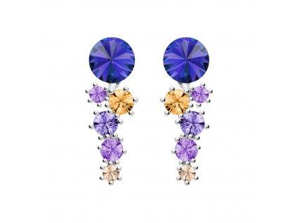 4722 stribrne nausnice aronie s kubickou zirkonii a ceskym kristalem preciosa modre