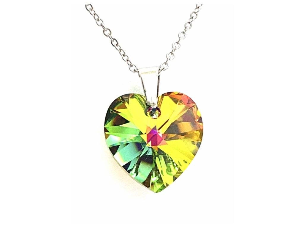 Přívěsek Srdce Swarovski crystal s ocelovým řetízkem zelená duhová