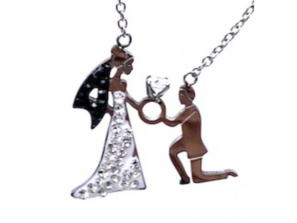 Náhrdelník z chirurgické oceli Nevěsta s ženichem
