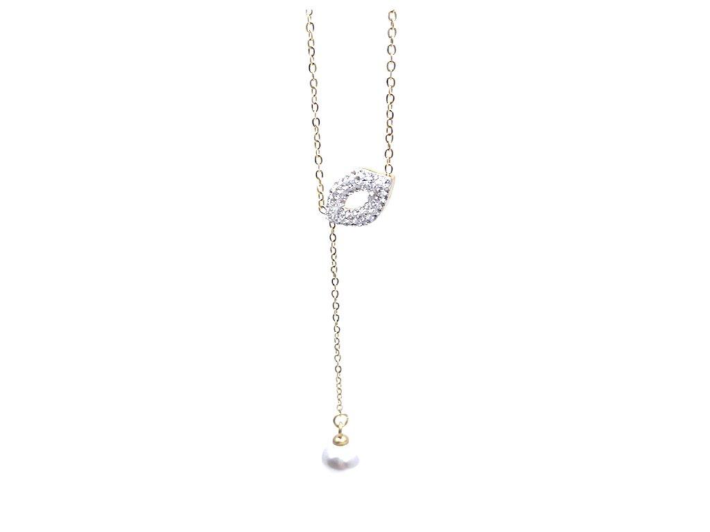 Náhrdelník z chirurgické oceli Pusinka s perlou