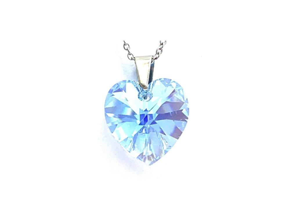 Přívěsek Srdce Swarovski crystal s ocelovým řetízkem světle modrá