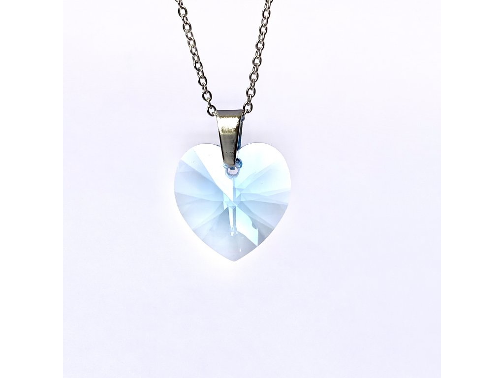 Přívěsek Srdce Swarovski crystal s ocelovým řetízkem světle modrá pruhledná