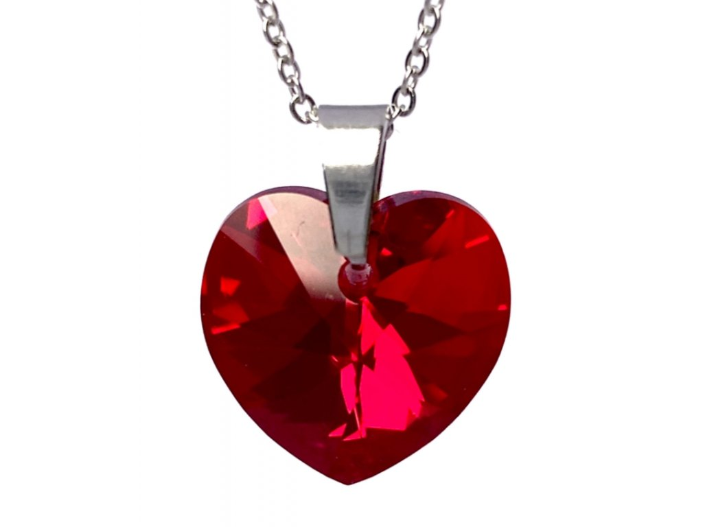 Přívěsek Srdce Swarovski crystal s ocelovým řetízkem červená