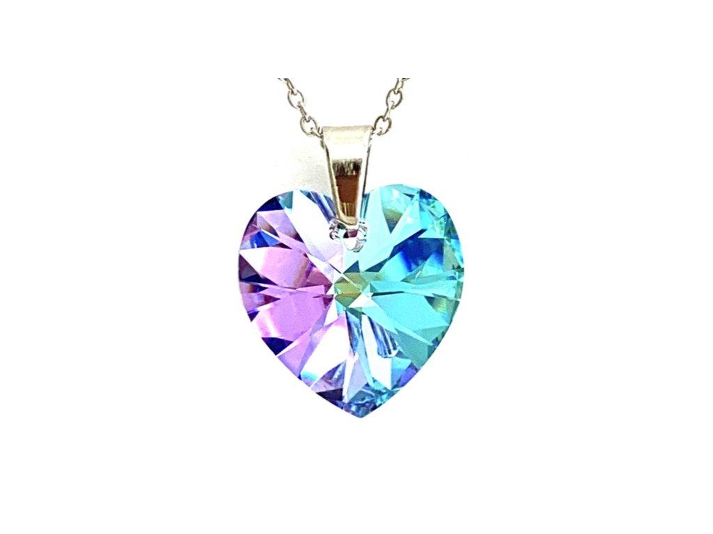 Přívěsek Srdce Swarovski crystal s ocelovým řetízkem fialová