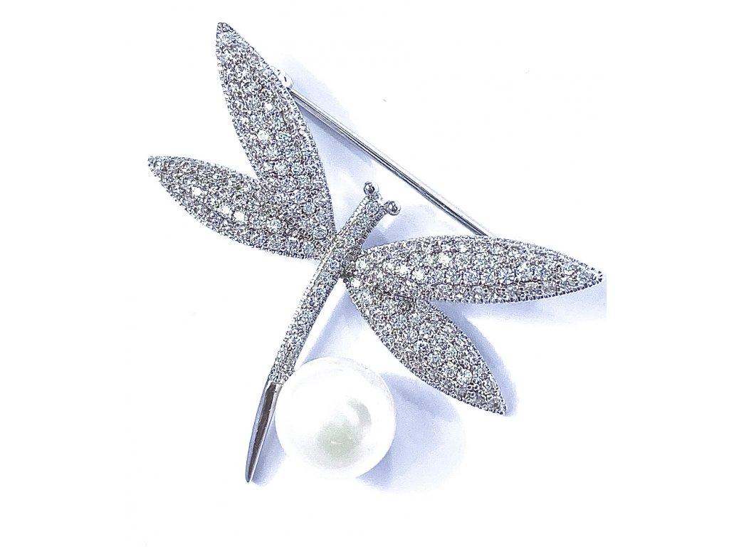 Brož Vážka s perlou