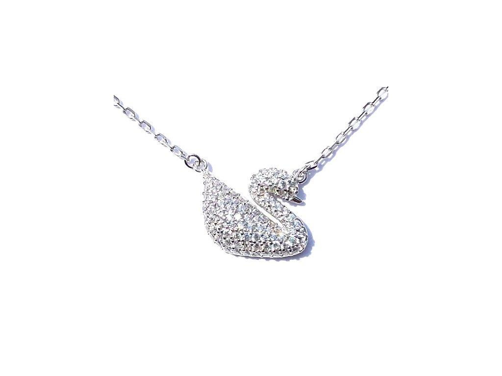 Silver swan necklace