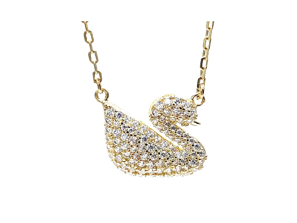 Silver gold swan necklace