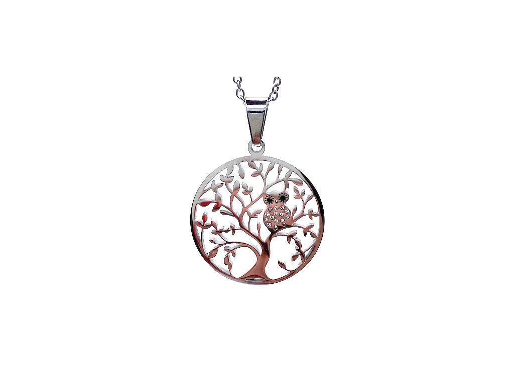Ocelový přívěsek Strom Života s ocelovým řetízkem