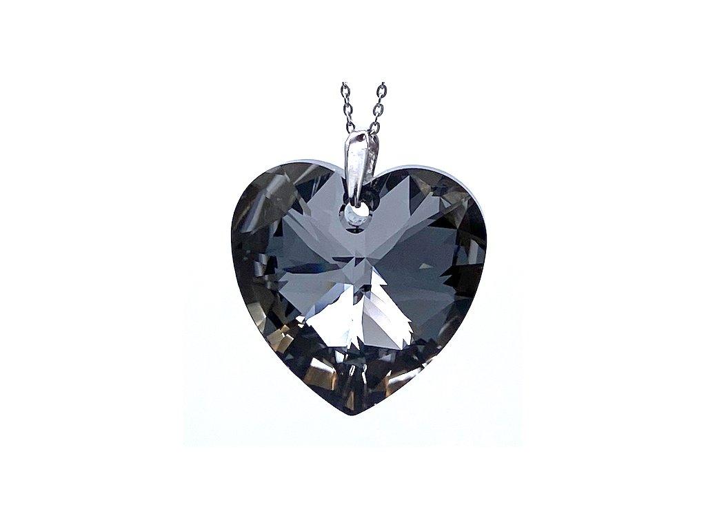 Přívěsek Srdce Swarovski crystal s ocelovým řetízkem šeda