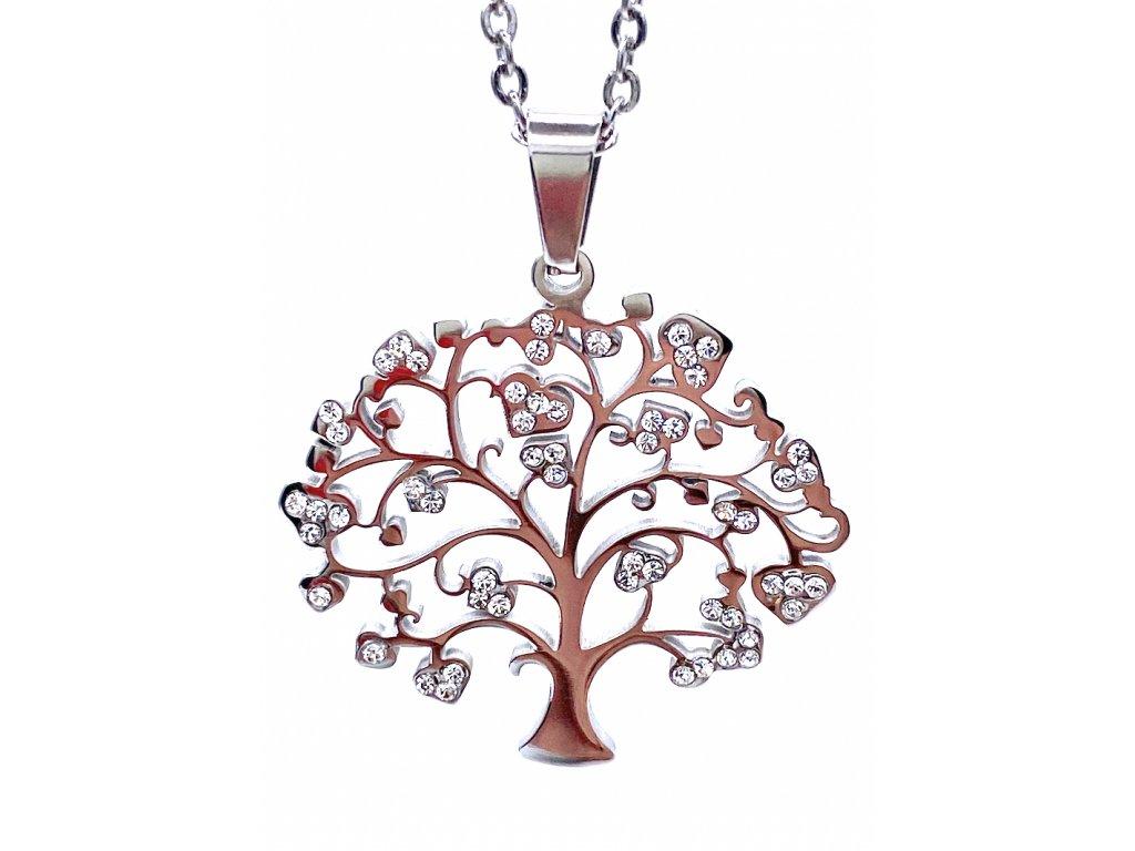 Ocelový přívěsek Strom Života s ocelovím řetízkem