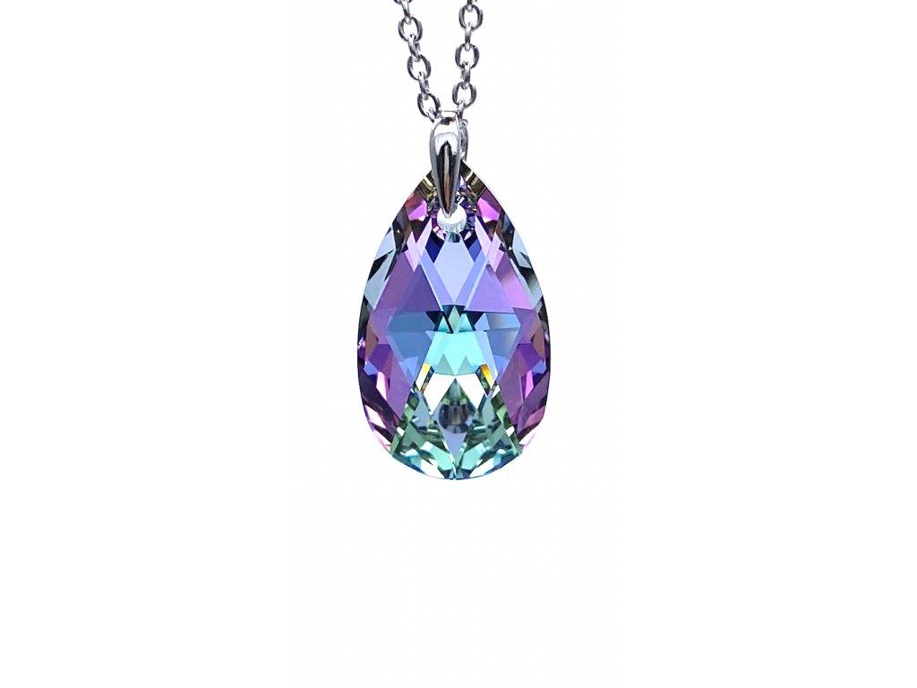Přívěsek Kapka Swarovski crystal s ocelovým řetízkem fialová duhová