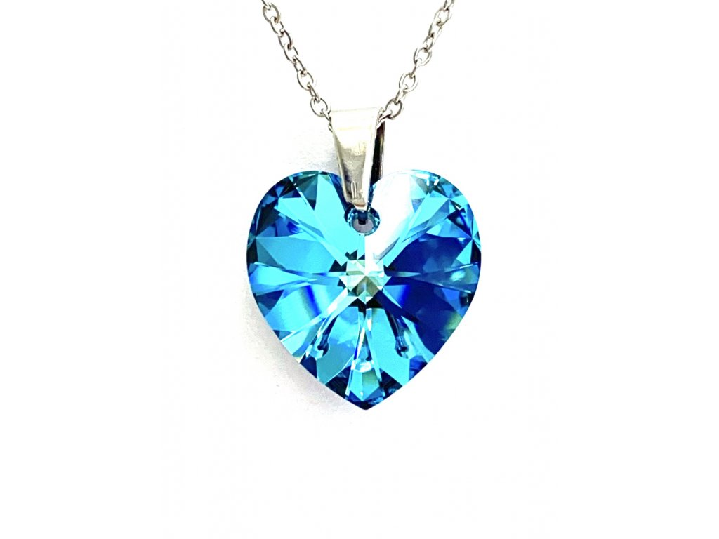 Přívěsek Srdce Swarovski crystals s ocelovým řetízkem modrá