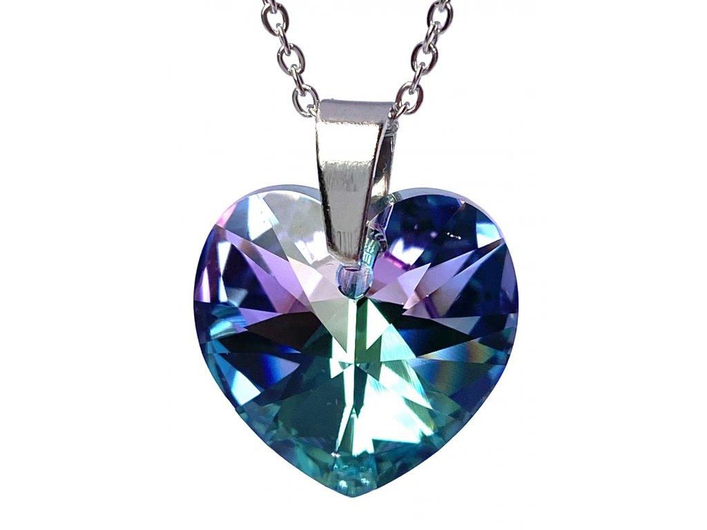 Přívěsek Srdce Swarovski crystal s ocelovým řetízkem fialová duhová