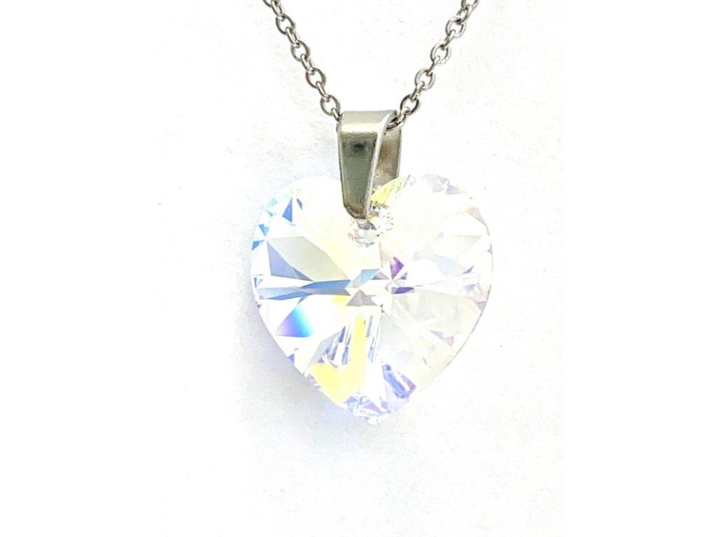 Přívěsek Srdce Swarovski crystal s ocelovým řetízkem duhová