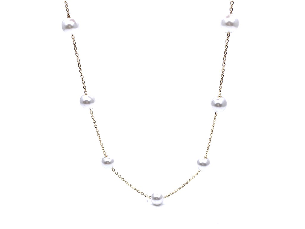 Náhrdelník z chirurgické oceli s perlami