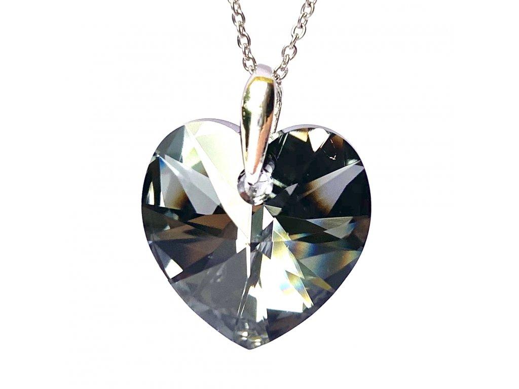 Přívěsek Srdce Swarovski crystal s ocelovým řetízkem šedá