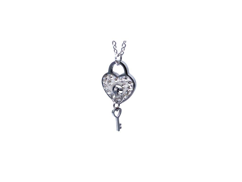 Náhrdelník z chirurgické oceli srdce s klíčem