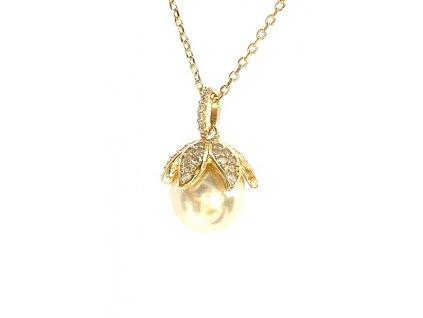 Stříbrný přívěsek Zlatou perlou