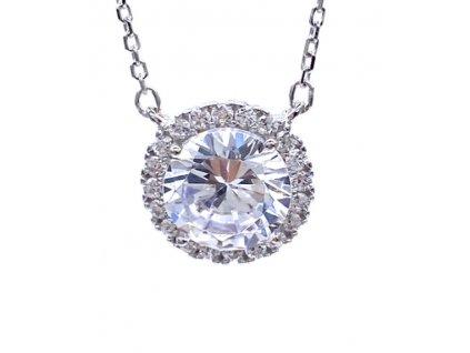 Stříbrný přívěsek s kulatým Krystalem
