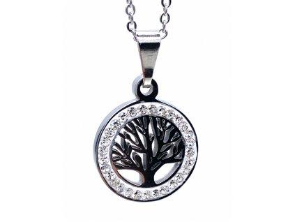 Ocelový přívěsek Strom Zivota s ocelovým řetízkem